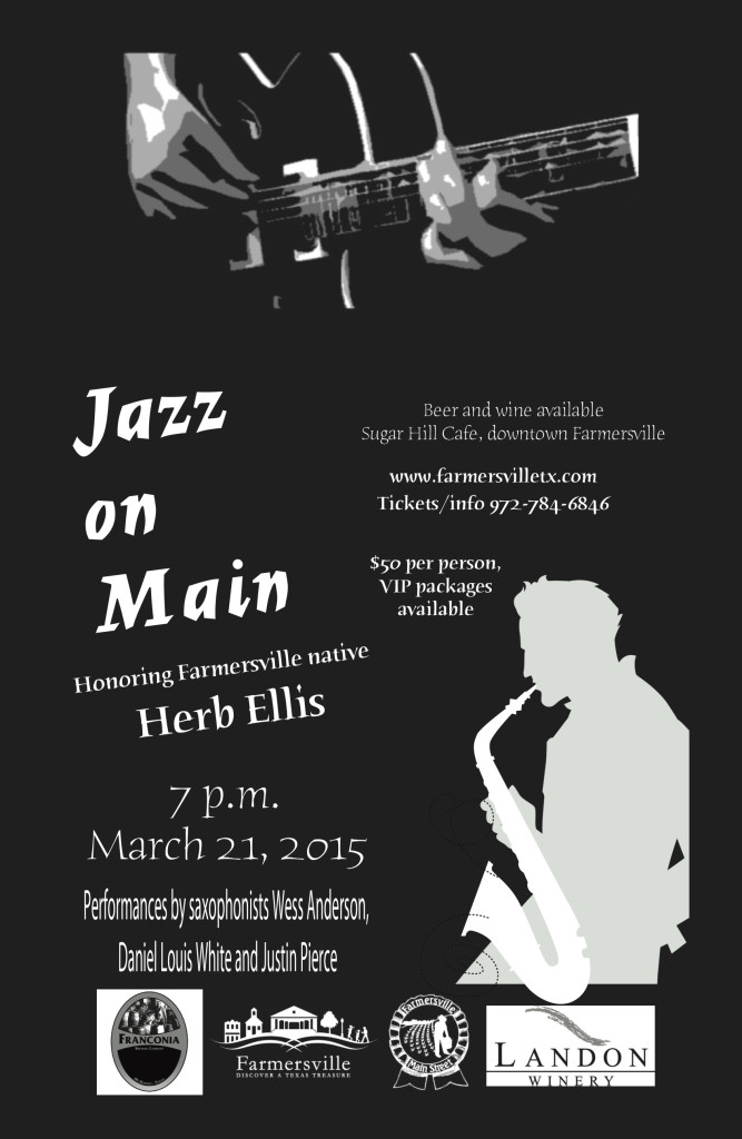 """Poster for the 2015 """"Jazz On Main"""" event,  featuring the  Justin Pierce Jazz Band"""